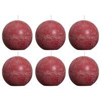 Bolsius Velas rústicas de bola 6 unidades rojo vino tinto 80 mm