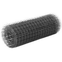 vidaXL Alambrada de gallinero acero revestimiento PVC gris 25x0,5 m