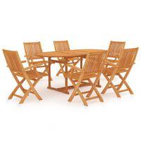 vidaXL Conjunto de comedor de jardín 9 piezas madera maciza de teca