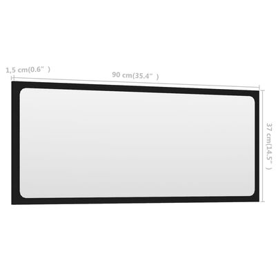 vidaXL Espejo de baño aglomerado negro 90x1,5x37 cm