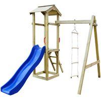 vidaXL Parque infantil con tobogán y escaleras de madera