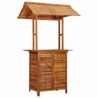 vidaXL Mesa de bar jardín con tejado madera de acacia 122x106x217 cm