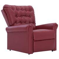 vidaXL Sillón reclinable de cuero sintético rojo vino tinto