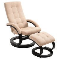 vidaXL Sillón reclinable con reposapiés tela tacto de ante color crema