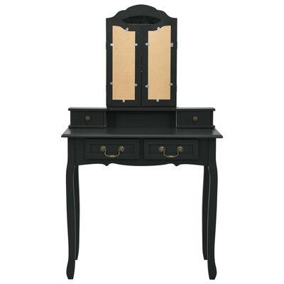 vidaXL Juego de tocador y taburete madera paulownia negro 80x69x141 cm