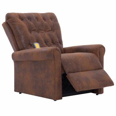 vidaXL Sillón de masaje reclinable de piel de ante artificial marrón