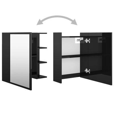 vidaXL Armario espejo de baño aglomerado negro brillo 62,5x20,5x64 cm