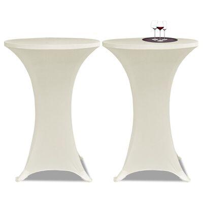 2 Manteles color crema ajustados para mesa de pie - 70 cm diámetro