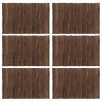 vidaXL Manteles individuales 6 uds Chindi liso algodón marrón 30x45 cm