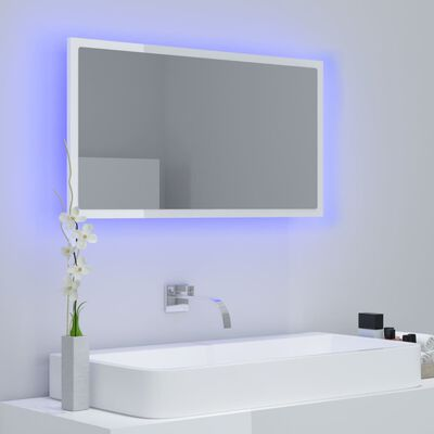 vidaXL Espejo de baño con LED aglomerado blanco brillo 80x8,5x37 cm