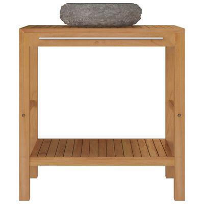 vidaXL Mueble tocador madera teca maciza con lavabo de mármol negro
