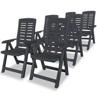 vidaXL Sillas de jardín reclinables 6 unidades plástico gris antracita