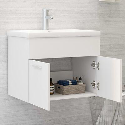 vidaXL Mueble con lavabo blanco brillante aglomerado