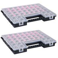 vidaXL Caja compartimentos 2 uds divisores plástico 385x283x50 mm
