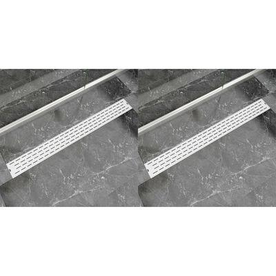 vidaXL Desagüe lineal de ducha 2 piezas 1030x140 mm acero inoxidable