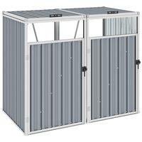 vidaXL Cobertizo doble contenedor de basura acero gris 143x81x121 cm