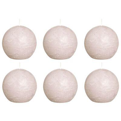 Bolsius Velas rústicas de bola 6 unidades rosa pastel 80 mm