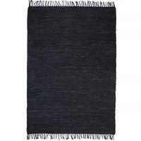 vidaXL Alfombra tejida a mano Chindi cuero 160x230 cm negro