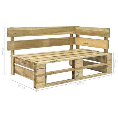 vidaXL Sofá esquina de palés para jardín madera pino impregnada verde