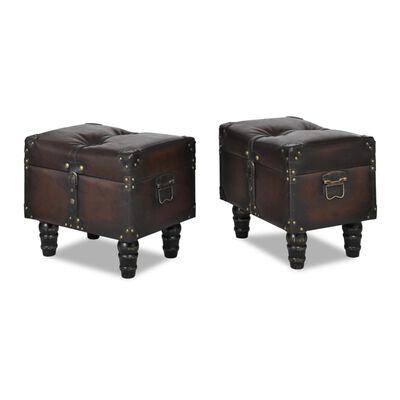 vidaXL Juego de bancos de almacenamiento marrón 3 piezas