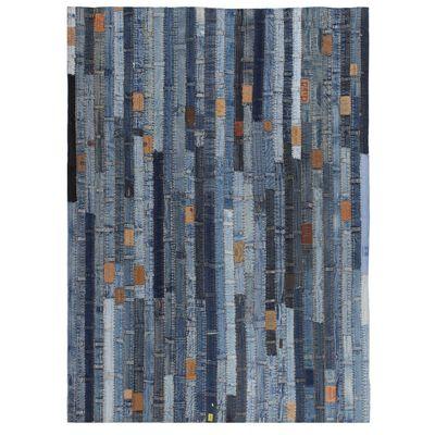 vidaXL Alfombra patchwork cinturillas de vaquero azul 120x170 cm