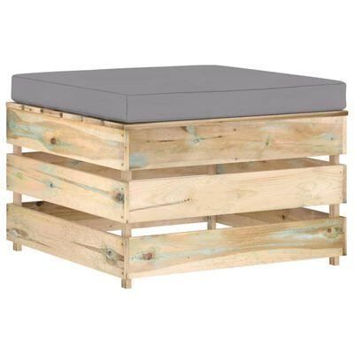 vidaXL Muebles de jardín 5 piezas con cojines madera impregnada verde