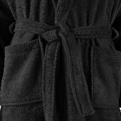 vidaXL Albornoz de rizo unisex 100% algodón negro talla XL
