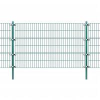 vidaXL Panel de valla y postes hierro recubrimiento polvo verde 6x1,2m