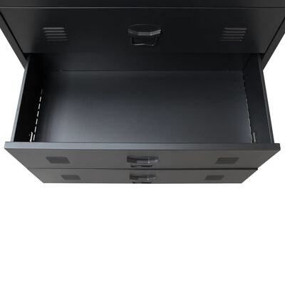 vidaXL Cajonera metálica de estilo industrial 78x40x93 cm negro