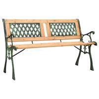 vidaXL Banco de jardín hierro fundido y madera de abeto maciza 122 cm
