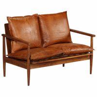 vidaXL Sofá de 2 plazas de cuero auténtico con madera de acacia marrón
