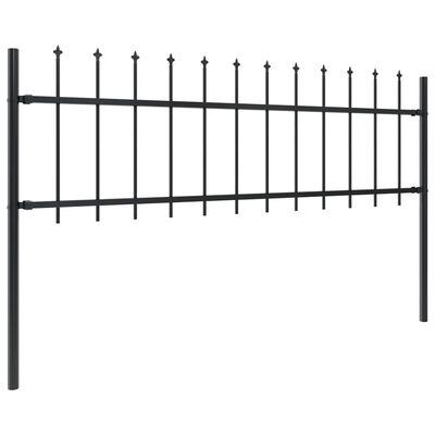 vidaXL Valla de jardín con puntas de lanza acero negro 15,3x0,6 m