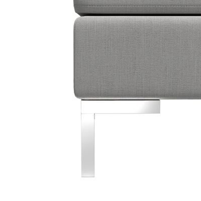 vidaXL Sofá central seccional con cojín tela gris claro