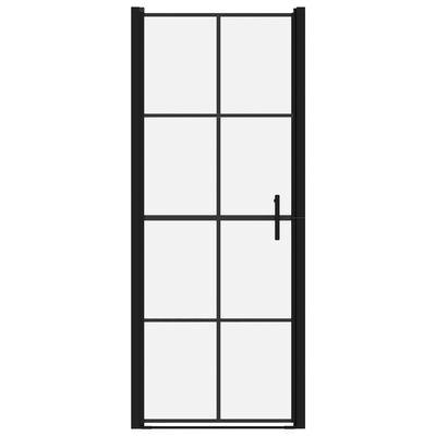 vidaXL Puertas de ducha de vidrio templado negro 81x195 cm