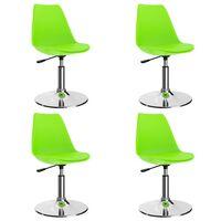 vidaXL Sillas comedor giratorias 4 unidades cuero sintético verde