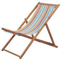 vidaXL Silla de playa plegable estructura madera y tela multicolor