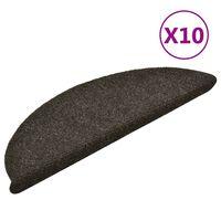 vidaXL Alfombrilla autoadhesiva de escalera 10 uds 56x17x3cm marrón