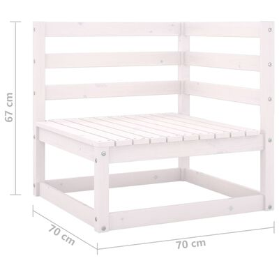 vidaXL Muebles de jardín 9 pzas y cojines blanco madera maciza pino