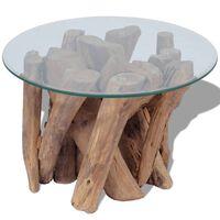 vidaXL Mesa de centro de madera flotante de teca maciza 60 cm