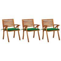 vidaXL Sillas de comedor jardín con cojines 3 uds madera maciza acacia