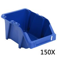 vidaXL Contenedores almacenaje apilables 125x195x90 mm azul 150 uds
