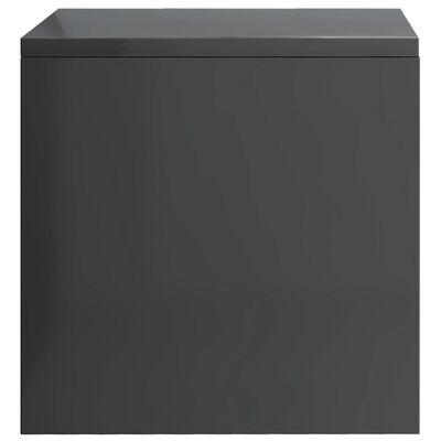 vidaXL Mesita de noche aglomerado gris brillante 40x30x30 cm