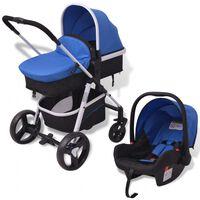 vidaXL Cochecito de bebé 3 en 1 azul y negro aluminio