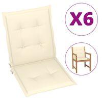 vidaXL Cojines para sillas de jardín 6 uds color crema 100x50x4 cm