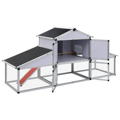 vidaXL Gallinero con corral y nido aluminio
