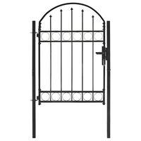 vidaXL Puerta de jardín con arco superior 100x125 cm acero negro