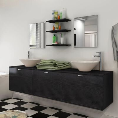 vidaXL Set muebles para baño con lavabo y grifo 10 uds Negro