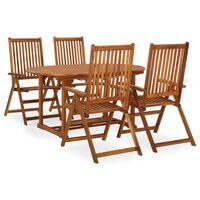vidaXL Set de comedor de jardín 7 piezas madera maciza de acacia