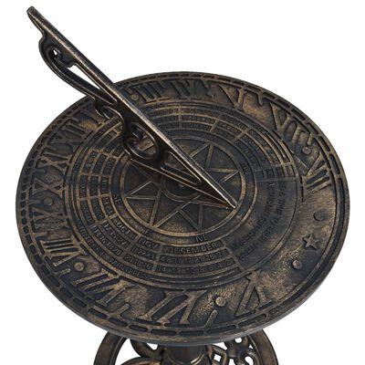 vidaXL Reloj solar de plástico color bronce 35,5x82 cm