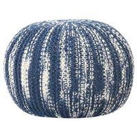 vidaXL Puf tejido a mano de lana azul y blanco 50x35 cm